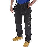 Click Workwear Shawbury Multi-pocket Work Trousers 30 inch Waist with Tall Leg Black Ref SMPTBL30T