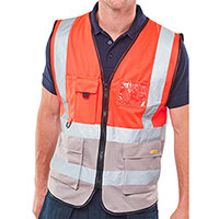B-Seen Medium Executive Two Tone High Visibility Waistcoat Grey & Red Ref HVWCTTREGYM