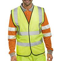 B-Seen High Visibility Waistcoat Full App Vest Size 5XL Saturn Yellow Ref WCENG5XL