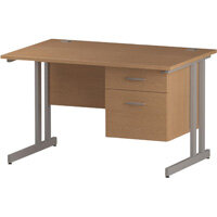 Rectangular Double Cantilever Silver Leg Office Desk With Fixed 2 Drawer Pedestal Oak W1200xD800mm