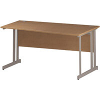 Wave Double Cantilever Silver Leg Right Hand Office Desk Oak W1600mm