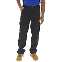Click Traders Newark 320gsm Cargo Work Trousers 30 inch Waist with Tall Leg Black Ref CTRANTBL30T