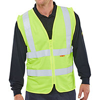 Click Fire Retardant Hi-Vis Waistcoat Polyester Vest Size S Saturn Yellow Ref CFRWCSYS