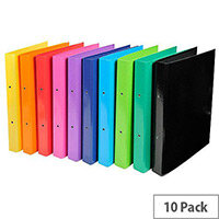 Iderama A4 1.8mm Thickness Rigid Pressboard 30mm 2-Ring Binder Assorted Colours Pack of 10