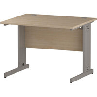 Rectangular Cable Managed Cantilever Silver Leg Office Desk Maple W1000xD800mm
