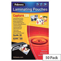 Fellowes  54x86mm  Glossy 125 Micron Card Laminating Pouch (Pack of 50)
