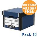 Fellowes Bankers Box Premium 725 Classic Archive Storage Box Blue BOGOF