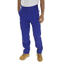 Super Click Workwear Drivers Work Trousers 30 inch Waist with Regular Leg Royal Blue Ref PCTHWR30