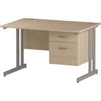 Rectangular Double Cantilever Silver Leg Office Desk With Fixed 2 Drawer Pedestal Maple W1200xD800mm