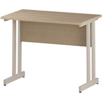 Rectangular Double Cantilever White Leg Slimline Office Desk Maple W1000xD600mm