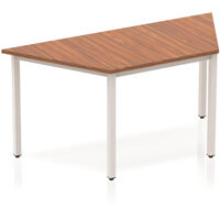 Modular Trapezodial Table Walnut with Silver Box Frame W1600xD800mm