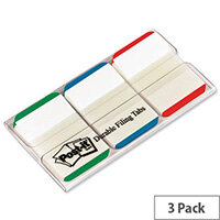 Post-it Index Tabs 25mm Assorted Green Blue Red Pack 66