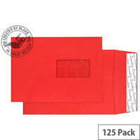 Purely Packaging Envelope Gusset P&S 140gsm C5 Window Red Ref 6061W [Pack 125]