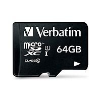 Verbatim Micro SDHC Card Including Adapter 64GB Black Ref 44084