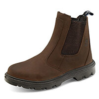 Click Footwear Sherpa Dealer Boots PU Rubber/Leather Size 6 (39) Brown - Steel Toe Cap & Midsole Protection, Shock Absorber Heel, Anti-static, Oil & Heat Resistant Sole, Slip Resistant, Water Resistant Ref SDB06