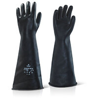 Ansell Industrial Latex Medium Weight 17inch Gauntlet Black Size 09 Ref ILMW1709