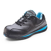 Click Footwear Ladies Micro-Fibre Trainers Size 3 (36) Black & Blue - Composite Toe Cap & Midsole, Shock Absorber Heel, Oil Resistant Sole, Anti Slip Sole Ref CF86203