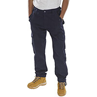 Click Workwear Polycotton Combat Work Trousers 34 inch Waist with Regular Leg Navy Blue Ref PCCTN34