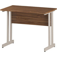 Rectangular Double Cantilever White Leg Slimline Office Desk Walnut W1000xD600mm