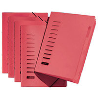 Pagna A4 6 Compartment Sorting File Red Pack of 5