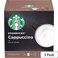STARBUCKS Cappuccino Capsules for Dolce Gusto Machine Ref 12397695 Pack 36 (3x12 Capsule=18 Drinks)