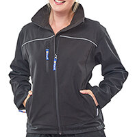 Click Workwear Ladies Soft Shell Water Resistant Jacket Size M (12) Black Ref LSSJBLM