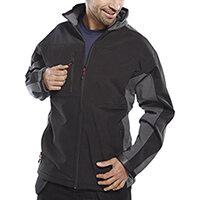 Click Workwear Two Tone Soft Shell Jacket Size 4XL Black & Grey Ref SSJTTBLGY4XL