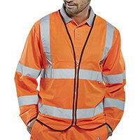 Click Fire Retardant Hi-Vis Jerkin Long Sleeve Large Orange Ref CFRPKJORL