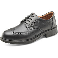 Click Footwear Brogue Safety Shoes S1 PU/Leather Upper Steel Toecap Size 6 (39) Black Ref SW201106