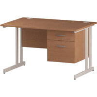 Rectangular Double Cantilever White Leg Office Desk With Fixed 2 Drawer Pedestal Beech W1200xD800mm