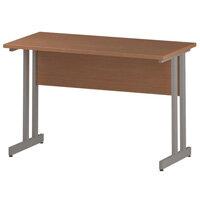 Rectangular Double Cantilever Silver Leg Return Office Desk Beech W1200xD600mm