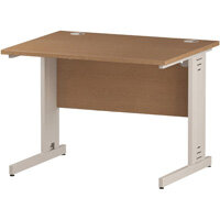 Rectangular Cable Managed Cantilever White Leg Office Desk Oak W1000xD800mm