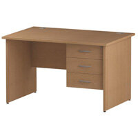 Rectangular Panel End Office Desk With Fixed 3 Drawer Pedestal Oak W1200xD800mm