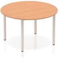 Modular Circular Table Oak with Silver Box Frame D1200mm