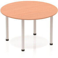 Modular Circular Table Beech with Silver Tubular Steel Frame D1200mm