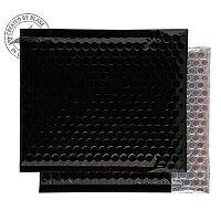 Purely Packaging Envelope P&S 165x165mm Padded Metallic Black Ref MBB165 [Pk 100]