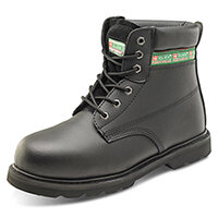 Click Footwear Goodyear Welted 6in Leather Safety Boots Size 6 Black - Steel Toe Cap & Midsole Protection, Oil Resistant & Heat Resistant Sole, Slip Resistant Ref GWBMSBL06