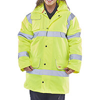 B-Seen High Visibility Fleece Lined Traffic Jacket Size XL Saturn Yellow Ref CTJFLSYXL