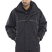 B-Dri Weatherproof Springfield Jacket Hi-Vis Piping Size 2XL Black Ref SJBLXXL