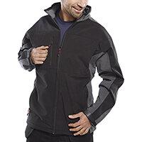 Click Workwear Two Tone Soft Shell Jacket Size 5XL Black & Grey Ref SSJTTBLGY5XL