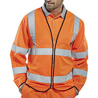 Click Fire Retardant Hi-Vis Jerkin Long Sleeve Medium Orange Ref CFRPKJORM