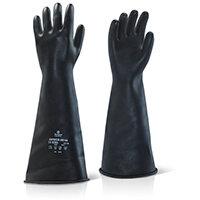 Ansell Industrial Latex Medium Weight 17inch Gauntlet Black Size 11 Ref ILMW1711