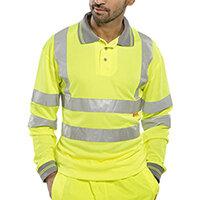 B-Seen Long Sleeved Hi-Vis Polo Shirt EN ISO20471 Size S Saturn Yellow Ref BPKSLSENSYS
