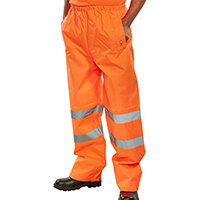 B-Seen Traffic Trousers High Visibility With Reflective Tape Small Orange Ref TENORS