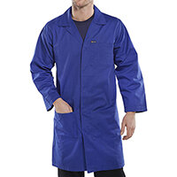 Click Workwear Poly Cotton Warehouse Coat 50in Chest Royal Blue Ref PCWCR50