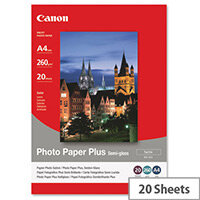 Canon SG-201 A4 260g/m2 Satin Finish Semi-Gloss Plus Photo Paper White 1 Pack of 50 Sheets