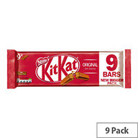 Nestle KitKat Milk Chocolate Bars 2 Crispy Wafer Fingers Chocolate Covered Individually Wrapped Bars Pack of 9