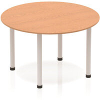 Modular Circular Table Oak with Silver Tubular Steel Frame D1200mm