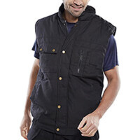 Click Workwear Hudson Bodywarmer Vest Size 2XL Black - Zip Front with Studded Storm Flap, 2 Stud Top & Lower Slanted Pockets Ref HBBLXXL