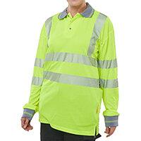 B-Seen Executive Hi-Vis Long Sleeve Polo Shirt Size L Saturn Yellow Ref BPKEXECLSSYL